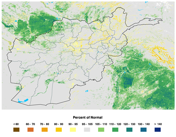 Afghanistan eMODIS 250m Percent of Normal NDVI Map. Period 21 / Apr 6 − 15, 2015