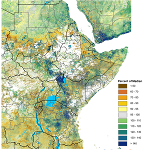Map of East Africa showing vegetation conditions in the July 21-31 period as percent of the 2003-2017 median, according to eMODIS/NDVI
