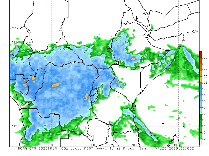 Map of East Africa showing the rainfall forecast through October 21
