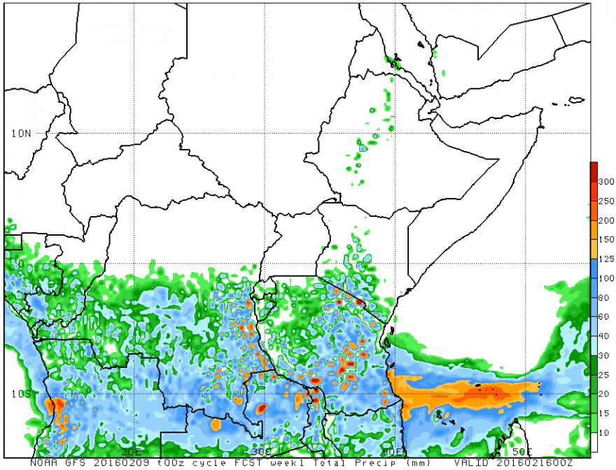 Figure 3. GFS Rainfall Weekly Forecast (mm), valid up to February 16, 2016