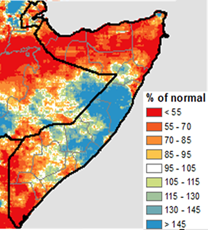 Map showing rainfall accumulation in Somalia in October