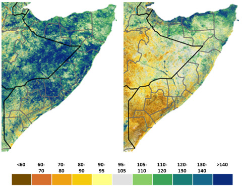 Map of Somalia showing vegetation conditions according to the Normalized Difference Drought Index in early October and mid-February