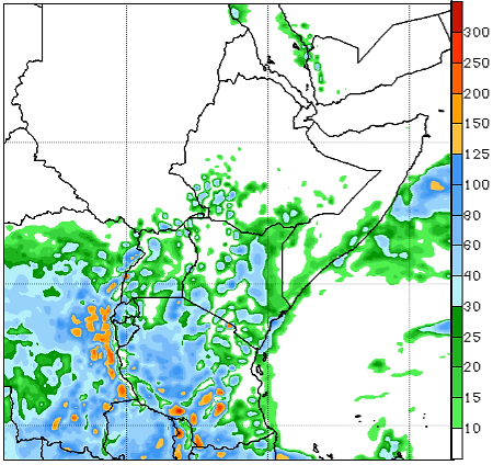 Figure 3. 2nd Week GFS-Rainfall forecast (mm), Valid until December 6, 2016