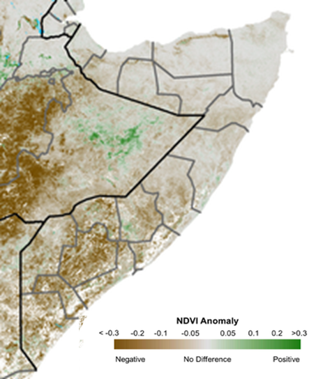 Map depicting vegetation conditions in Somalia. The satellite-derived eMODIS Normalized Vegetation Index (NDVI) shows significantly below-average vegetation conditions across the country,