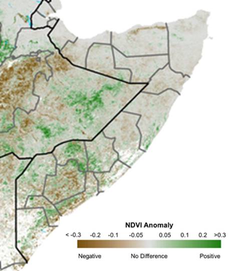 Map depicting vegetation anomalies compared to the 2007-2016 median. Vegetation conditions continued to improve across the country compared to previous reporting periods. However, vegetation deficits remain visible in many areas, especially in the South.