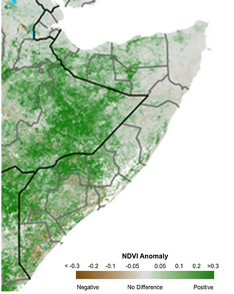 Map of Somalia depicting anomalous vegetation conditions based on satellite-derived NDVI data. vegetation conditions continued to improve across the country. However, negative anomalies remain widely visible across the Northeast and parts of central Somalia, given atypically low precipitation.