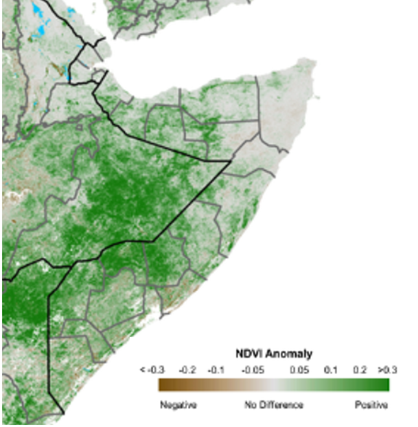 Map of Somalia. Vegetation conditions have significantly improved across the country due to the continued precipitations since the start of the season in early October (Figure 3). However, conditions are relatively worse in the northeastern parts of the country due to poor Deyr rainfall performance.