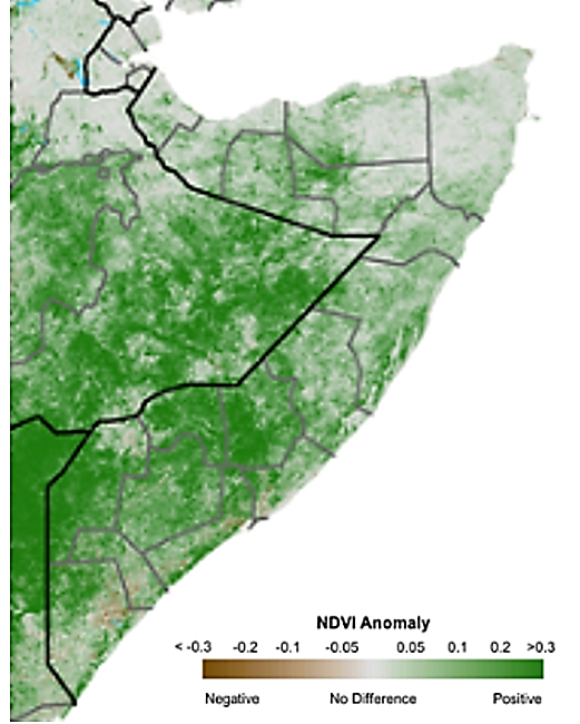 Map of Somalia. According to the eMODIS Normalized Difference Vegetation Index (NDVI) for the period of December 11-20, vegetation condition and vigor has significantly improved across the country due to above-average rainfall totals