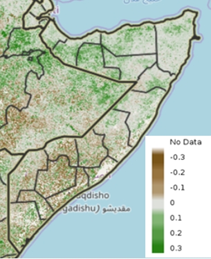 Map of Somalia showing vegetation conditions as an anomaly from the short-term median for the period of October 11-20
