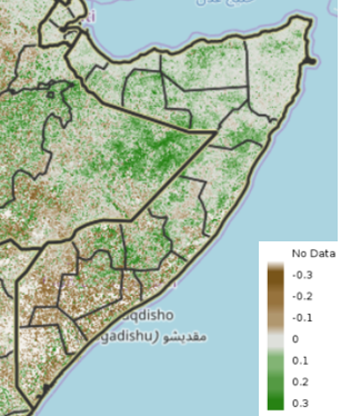 Map of Somalia showing the difference in vegetation conditions during the October 21-31 period compared to the short-term median