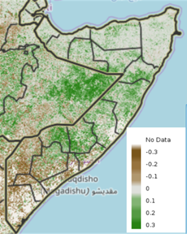 Map of Somalia showing vegetation conditions