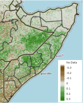 Map of Somalia showing vegetation conditions compared to the short-term median