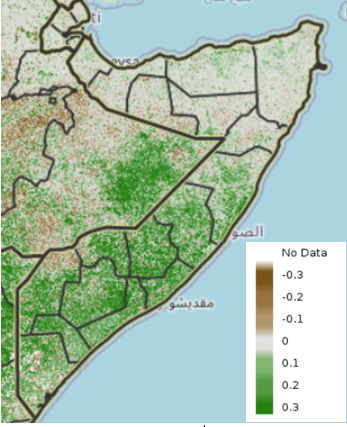 Map of Somalia showing the vegetation anomaly compared to the median, December 1-10, 2020
