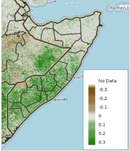 Map of Somalia showing vegetation conditions, December 11-20