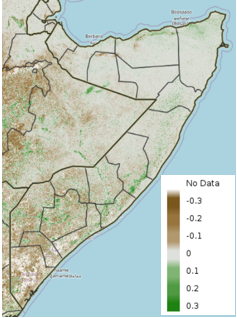 Map of Somalia showing the anomaly in vegetation conditions during the 10-day period of April 11-20, 2021, compared to the 2003-2017 median