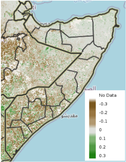 Map of Somalia showing eMODIS Normalized Difference Vegetation Index (NDVI) anomaly from 2003-2017 median, April 21-30, 2021