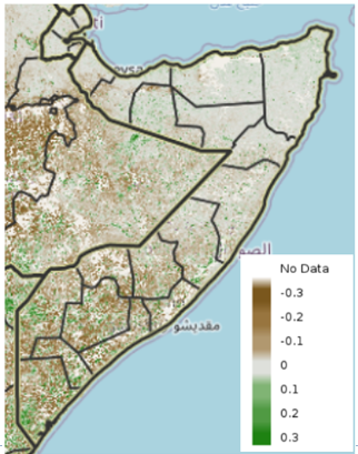 Map of Somalia showing eMODIS Normalized Difference Vegetation Index (NDVI) anomaly from 2003-2017 median, May 1-10, 2021