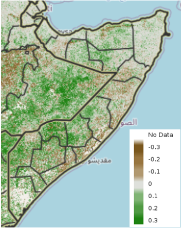 Map of Somalia showing eMODIS Normalized Difference Vegetation Index (NDVI) anomaly from 2003-2017 median, May 21-30, 2021