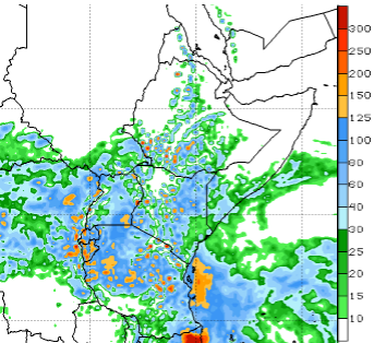 The one-week rainfall outlook shows an increased likelihood for widespread, moderate to locally very heavy seasonal rains in Tanzania, Rwanda, Burundi, Uganda, Kenya, southern Somalia, and southern Ethiopia.