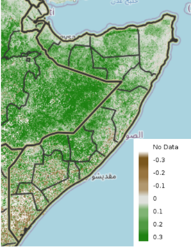 Map of Somalia showing eMODIS Normalized Difference Vegetation Index (NDVI) anomaly from 2003-2017 median, June 1-10, 2021