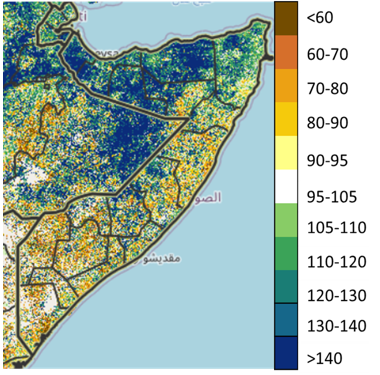 Map of Somalia showing Vegetation conditions compared to the 2003-2017 median based on the eMODIS Normalized Difference Vegetation Index as of June 20, 2021