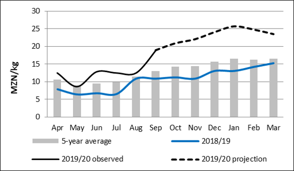 FEWS NET's integrated price projection indicates maize grain prices (Figure 3) are expected to gradually increase reaching the peak in February 2020. Prices are expected to remain 50 and 80 percent above average and last year's prices, respectively. For maize meal and rice, prices are expected to remain relatively stable throughout the entire scenario period.