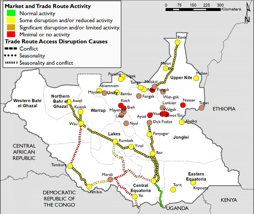 Map of South Sudan showing market and trade route activity in October 2019. Most markets have at least some disruption or reduced activitiy due to seasonality or conflict drivers. In Jonglei, Unity, and southern UNS, markets are more significantly disrupted or have minimal activity.