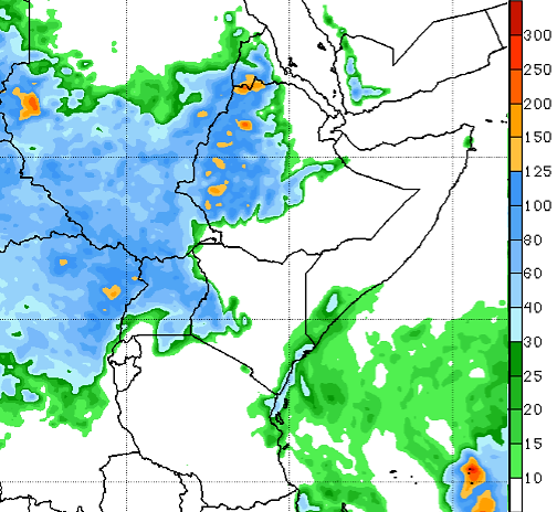 Map depicting the rainfall forecast in millimeters through August 27th. Heavy rainfall (40-125 mm) is predicted in Sudan, western Ethiopia, western Kenya, parts of coastal SOmalia and Kenya, and Uganda.