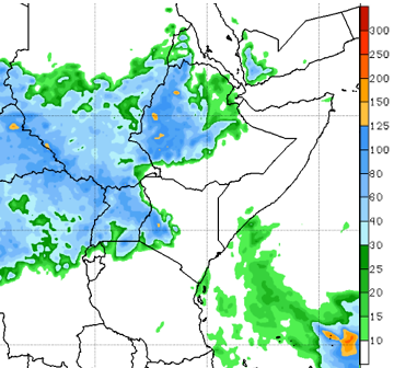 Map of East Africa depicting the rainfall forecast through September 13, 2020