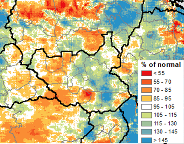 Map of South Sudan showing cumulative rainfall from June 1 to June 25, 2020, as a percent of the long-term average