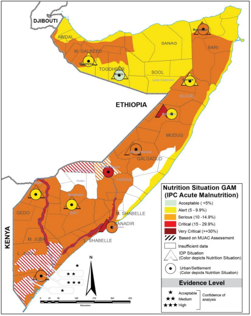 Map of Somalia showing acute malnutrition outcomes in August 2021