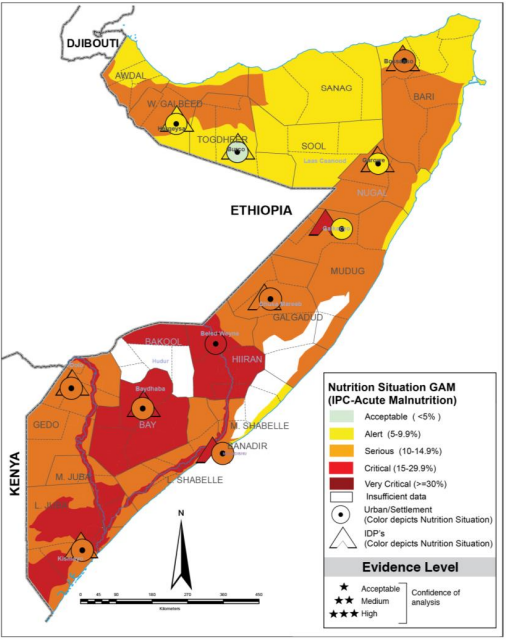 Map of Somalia showing projected acute malnutrition outcomes in September-November 2021