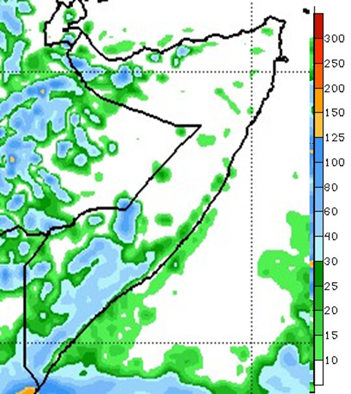 Forecast for the May 23-29 period in mm. Rainfall ranging from 20 mm to 100 mm forecast across the South and in parts of the Northwest. he rest of the country will likely receive little to no rainfall, especially in central and northeastern regions.