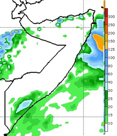 Map depicting the rainfall forecast June 4th to June 10th. Most of Somalia is forecast to remain dry. Parts of northern coastal Somalia and the southern Juba and Shabelle regions are forecast to receive up to 60 mm of rainfall.