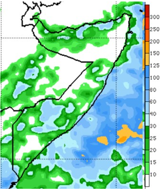 Map depicting the rainfall forecast for Somalia. moderate precipitation is likely in large parts of the South and in localized areas of central and northern Somalia, where rainfall amounts of up to 60 mm are expected. However, large areas of Bari, Sool, Middle and Lower Juba, and Galgaduud and Mudug are likely see little to no rainfall.