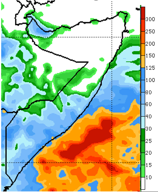 Map of Somalia. The NOAA Climate Predication Center's seven-day rainfall forecast ending December 2nd shows that most southern and central regions will likely see moderate to heavy rainfall of up to 100 mm. Dry conditions are highly likely for northern regions, except in large parts of Awdal and Woqooyi Galbeed regions where moderate to heavy rainfall is likely.