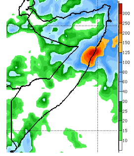 Map of Somalia. The NOAA Climate Predication Center's seven-day rainfall forecast ending December 10th indicate heavy to torrential precipitation in central- northern Somalia, due to a strengthening tropical cyclone over the northwestern Indian Ocean. However, little to no rainfall is expected across most of the South.
