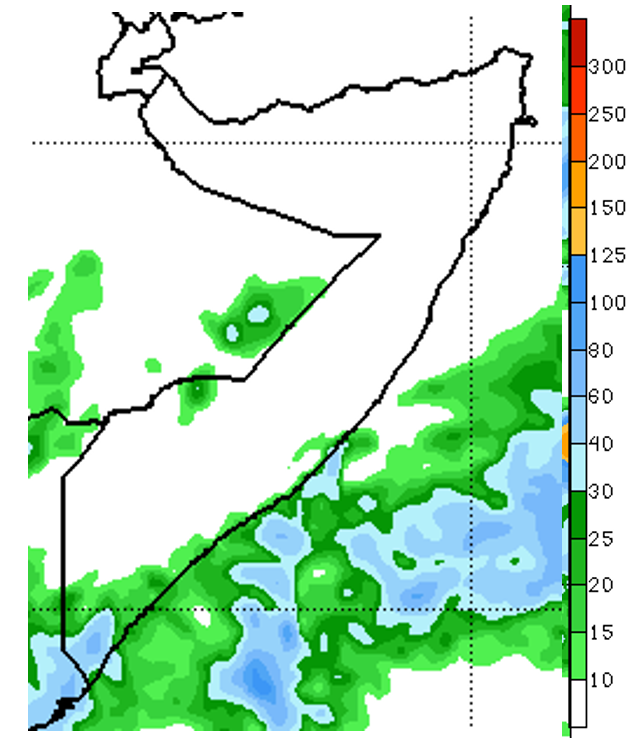 Map of Somalia. The NOAA Climate Predication Center's seven-day rainfall forecast ending December 20th depicts that most areas of the country will experience suppressed rainfall conditions. Exceptions include coastal and adjacent inland areas of Shabelle and Juba regions, where moderate to heavy precipitation of 10-60 mm is likely.