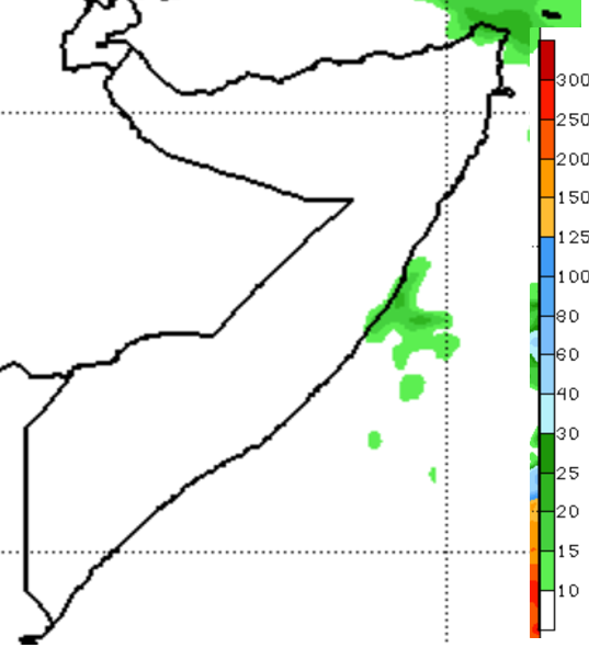 Map of Somalia. . The seven-day rainfall forecast ending December 31 by the National Oceanic and Atmospheric Administration Climate Prediction Center (NOAA/CPC) indicates the cessation of the Deyr rains across all areas of the country, except for a pocket of moderate to heavy rainfall off coastal areas of the Northeast. This signals the timely end of the season and reflects climatology for this time of year.