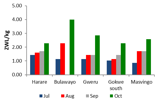 Figure 4. Maize Grain prices in ZWL per kg. Both maize grain and maize meal prices are continuing to rapidly increase and remain well above average (Figure 4 and 5). In October, FEWS NET sentinel markets recorded an average maize grain price of ZWL $2.53 /kg, about 30 percent above the previous month. Maize grain prices in Harare, Bulawayo, Gweru, Gokwe South and Masvingo, have increases since July with the highest prices in Bulawayo and the largest increases in Gweuro and Bulawayo Markets.