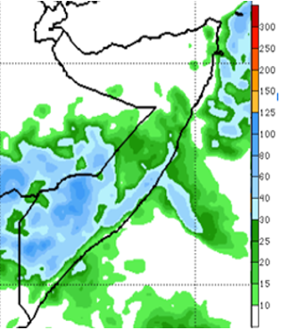 Map of Somalia showing the rainfall forecast in mm for October 24-30