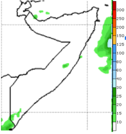 Map of Somalia showing the rainfall forecast in mm during the December 4-10 period
