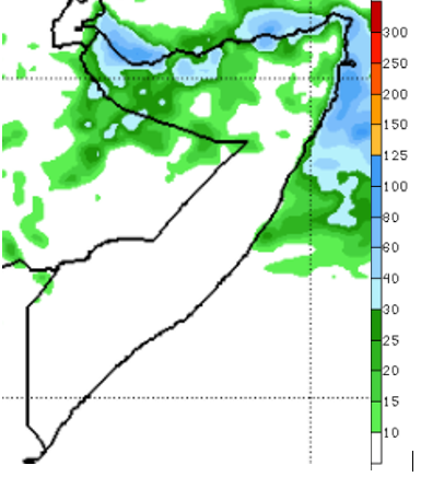 Map of Somalia showing the rainfall forecast for December 15-21, 2020