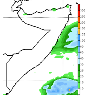 Map of Somalia showing the rainfall forecast, December 24-31