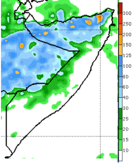 Map of Somalia showing the rainfall forecast from April 24-30, 2021