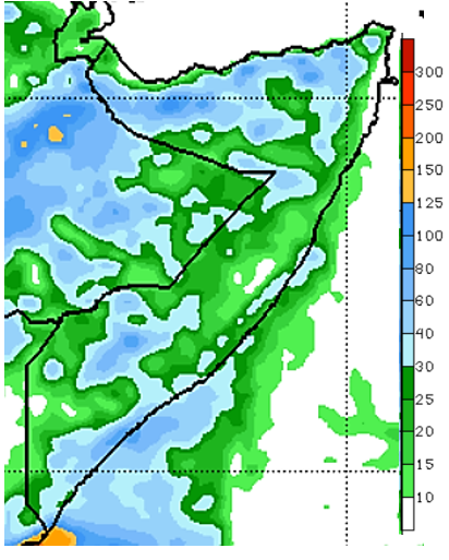 Map of Somalia showing the rainfall forecast in mm for May 4-10, 2021