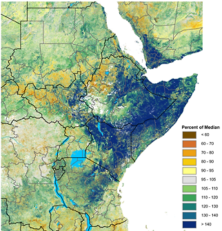 Map of East Africa and Yemen depicting vegetation anomalies as a percent of the 2007-2016 median