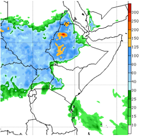 Map of East Africa showing the rainfall forecast through August 20