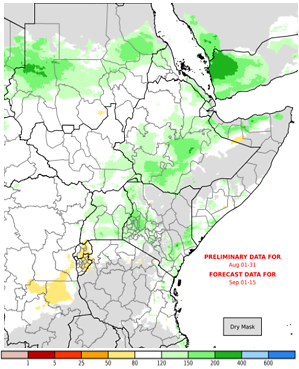 Map of East Africa depicting current and forecast rainfall performance from August 1st through September 15th as a percent of average