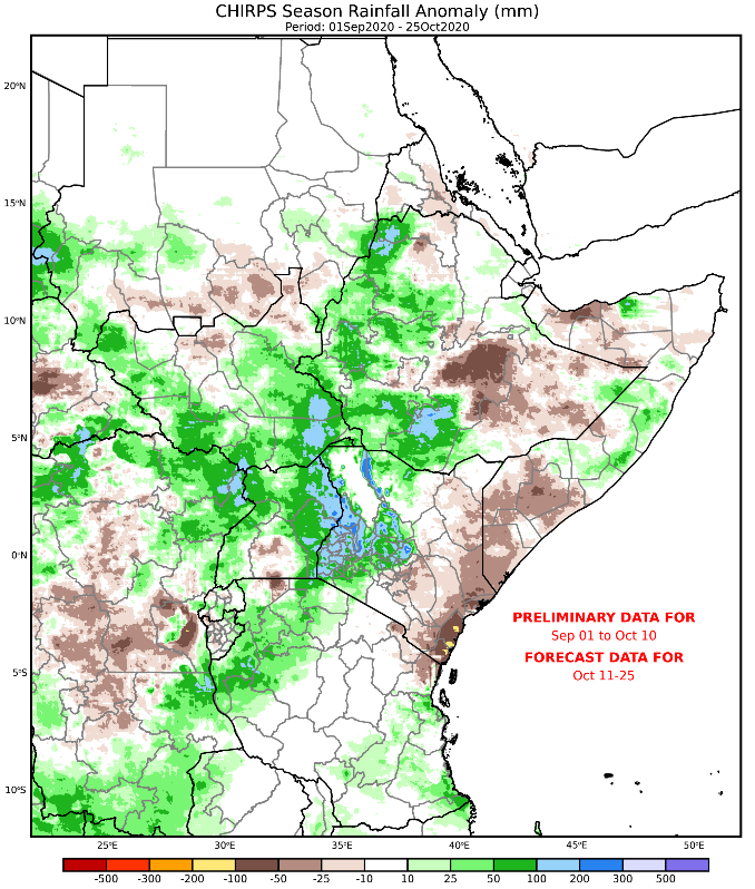 Map of East Africa showing current and forecast rainfall from September 1 to October 25 as a difference from the long-term average